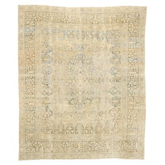 Distressed Antique Persian Tabriz Rug with Cotswold English Manor Style