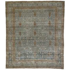 Distressed Antique Persian Tabriz Rug with Neoclassical Gustavian Style