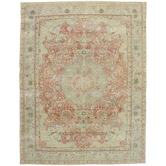 Distressed Antique Persian Tabriz Rug with Rustic English Cottage Style