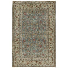 Distressed Antique Persian Tabriz Rug with Rustic English Country Cottage Style