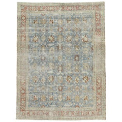Distressed Antique Persian Tabriz Rug with Swedish Gustavian Style