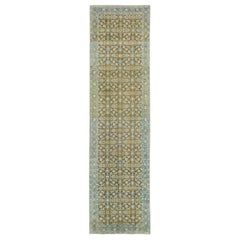 Distressed Antique Persian Tabriz Style Runner with Gustavian Style