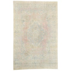 Distressed Antique Persian Yazd Rug with Cotswold Country Cottage Style