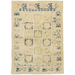 Distressed Antique Turkish Oushak Area Rug with Modern Mediterranean Greek Style