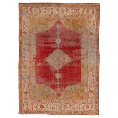 Distressed Antique Turkish Oushak Carpet, Red and Gold