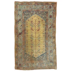 Distressed Antique Turkish Oushak Rug with Bohemian Style