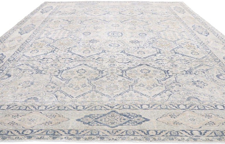 Hand-Knotted Distressed Antique Turkish Tabriz Rug with Neoclassical Gustavian Style For Sale