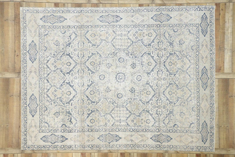 Wool Distressed Antique Turkish Tabriz Rug with Neoclassical Gustavian Style For Sale