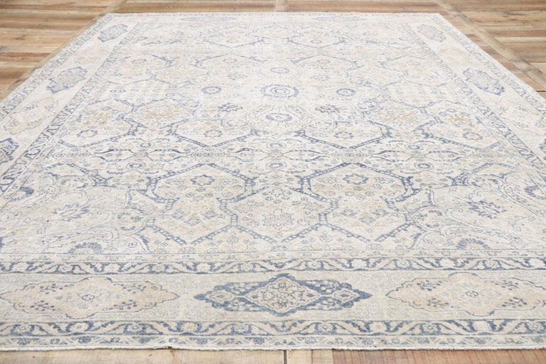 Distressed Antique Turkish Tabriz Rug with Neoclassical Gustavian Style For Sale 2