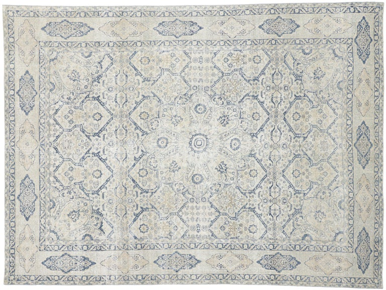 Distressed Antique Turkish Tabriz Rug with Neoclassical Gustavian Style For Sale 3