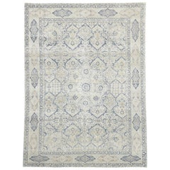 Distressed Antique Turkish Tabriz Rug with Neoclassical Gustavian Style