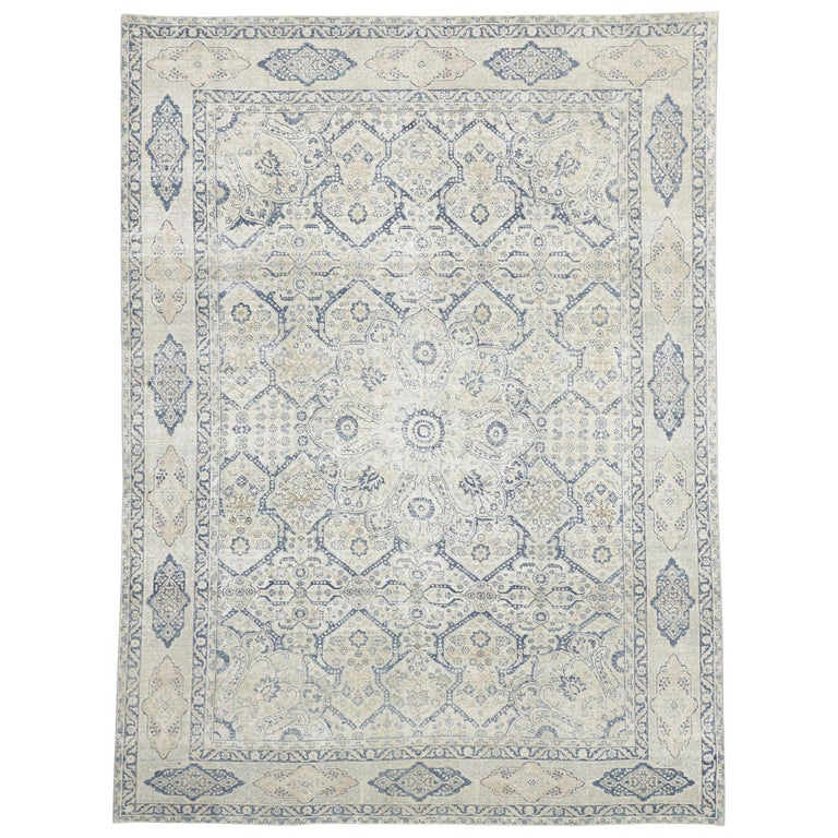 Distressed Antique Turkish Tabriz Rug with Neoclassical Gustavian Style For Sale