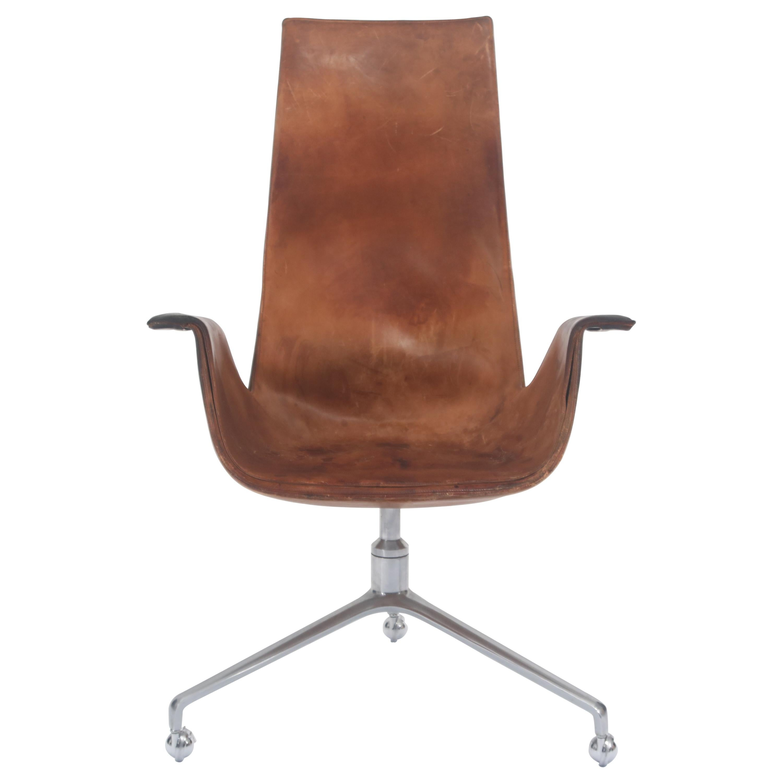 Genial Preben Fabricius U0026 Jørgen Kastholm Rollable Lounge Office Chair Brown  Leather