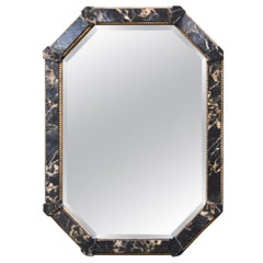 Distressed Black Marbled Finish Octagon Beveled Mirror by Decorative Arts