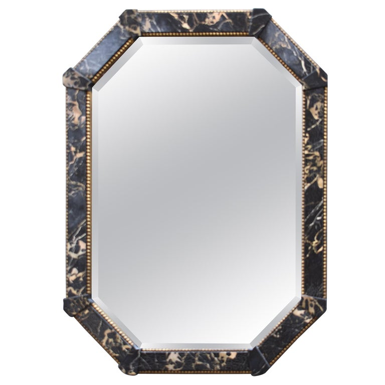 Distressed Black Marbled Finish Octagon Beveled Mirror By Decorative