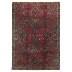 Distressed Burgundy Antique Indian Area Rug with Old World Venetian Style
