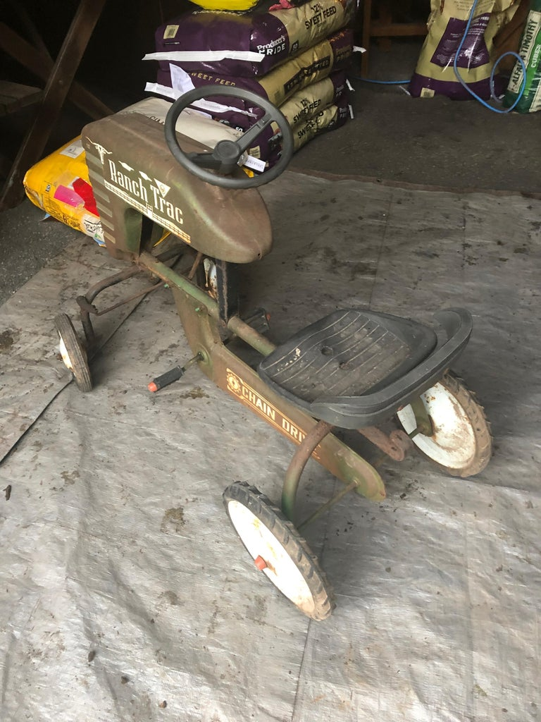 Distressed Charming Old Child's Pedal Tractor Toy For Sale 3
