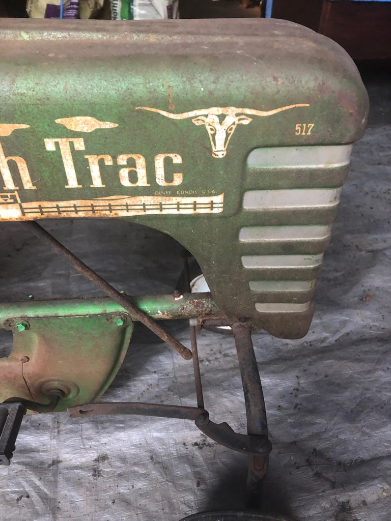 North American Distressed Charming Old Child's Pedal Tractor Toy For Sale