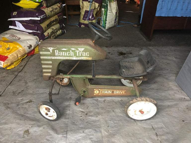 Mid-20th Century Distressed Charming Old Child's Pedal Tractor Toy For Sale