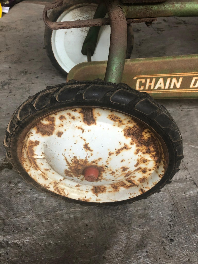 Metal Distressed Charming Old Child's Pedal Tractor Toy For Sale