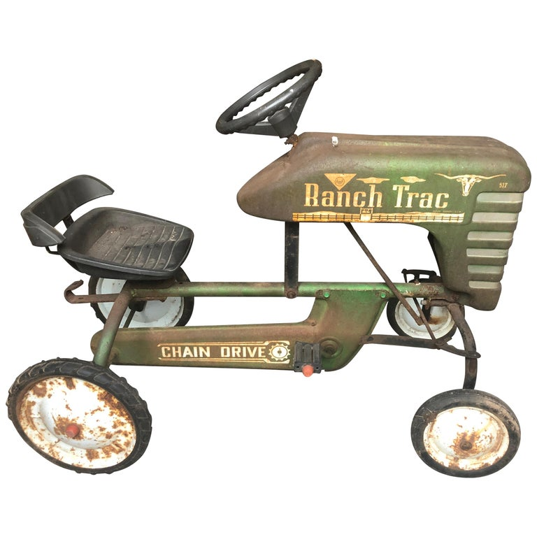 Distressed Charming Old Child's Pedal Tractor Toy For Sale