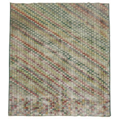Distressed Checkerboard Green Turkish Deco Room Rug