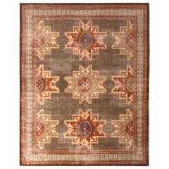 Distressed Classic Beige Brown Red Rug Medallion, Style Pattern by Rug & Kilim