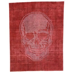 Distressed Craniotomy Vintage Red Skull Area Rug Inspired by Alexander McQueen