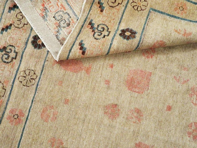 Distressed East Turkestan Khotan Gallery Carpet in Beige, Pink and Blue For Sale 3