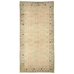 Distressed East Turkestan Khotan Gallery Carpet in Beige, Pink and Blue