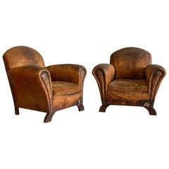 Distressed French Art Deco Leather Club Chairs, a Pair