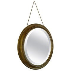 Distressed Gilt Oval Antiqued Mirror Hung by Rope