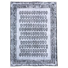 Distressed Gray Overdyed Rug, Paisley Field