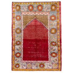 Distressed Handmade Turkish Rug in Crimson Red and Light Blue