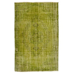 Distressed Handmade Vintage Turkish Rug Re-Dyed in Light Green Color