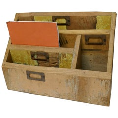 Distressed Industrial Look Desk Top Stationary Box Letter Rack