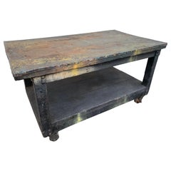 Distressed Industrial Metal Top Work Table on Casters