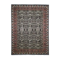 Distressed Khotan with Pomegranate Design Hand Knotted Oriental Rug