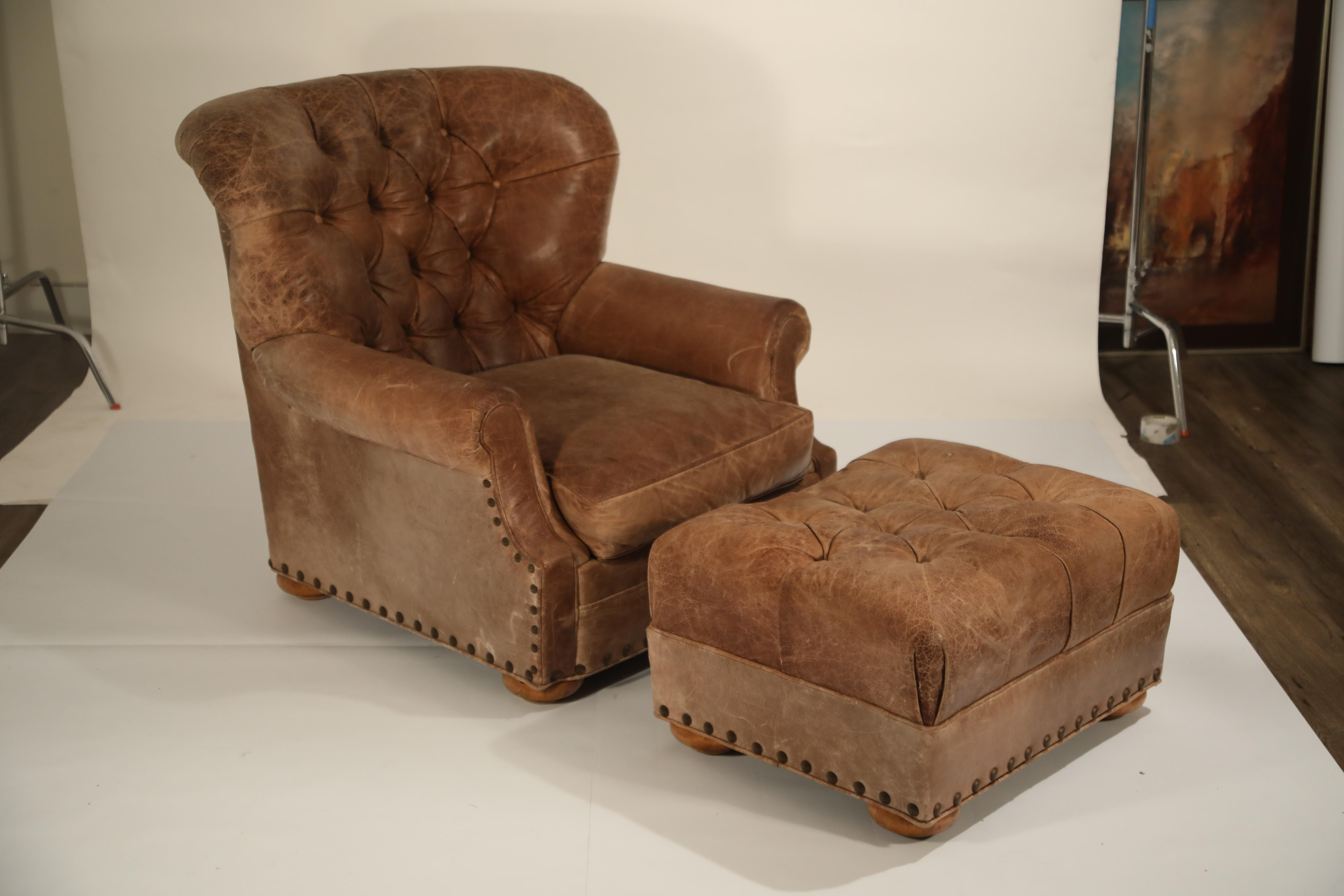 Picture of: Distressed Leather Armchair And Ottoman In The Style Of Ralph Lauren At 1stdibs