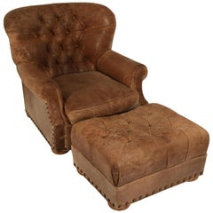 Distressed Leather Armchair and Ottoman in the Style of Ralph Lauren