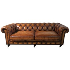 Distressed Leather Chesterfield Sofa