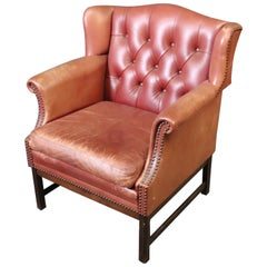 Distressed Leather Georgian Chippendale Tufted Genuine Leather Club Wing Chair