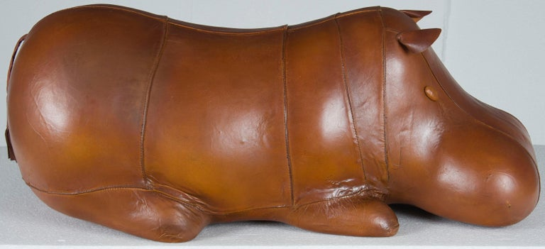 Rustic Distressed Leather Laying Hippo Hippopotamus Animal Footstool Ottoman Stool For Sale