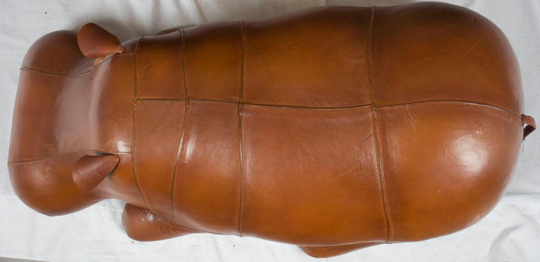 Distressed Leather Laying Hippo Hippopotamus Animal Footstool Ottoman Stool For Sale 2
