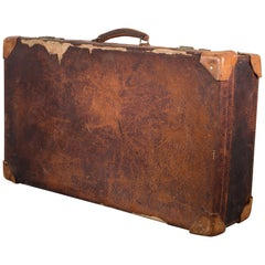 Distressed Leather Suitcase with Brass Locks, circa 1940