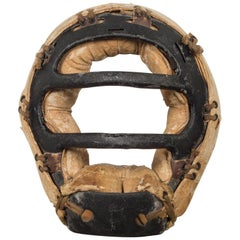 Distressed Metal and Leather Catcher's Mask, c.1920