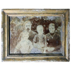 Distressed Mid-19th Century French Framed Daguerreotype of a Family