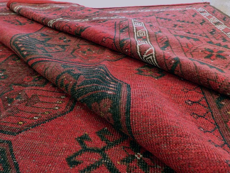Distressed Mid-20th Century Tribal Tekke Room Size Carpet in Red and Black For Sale 4