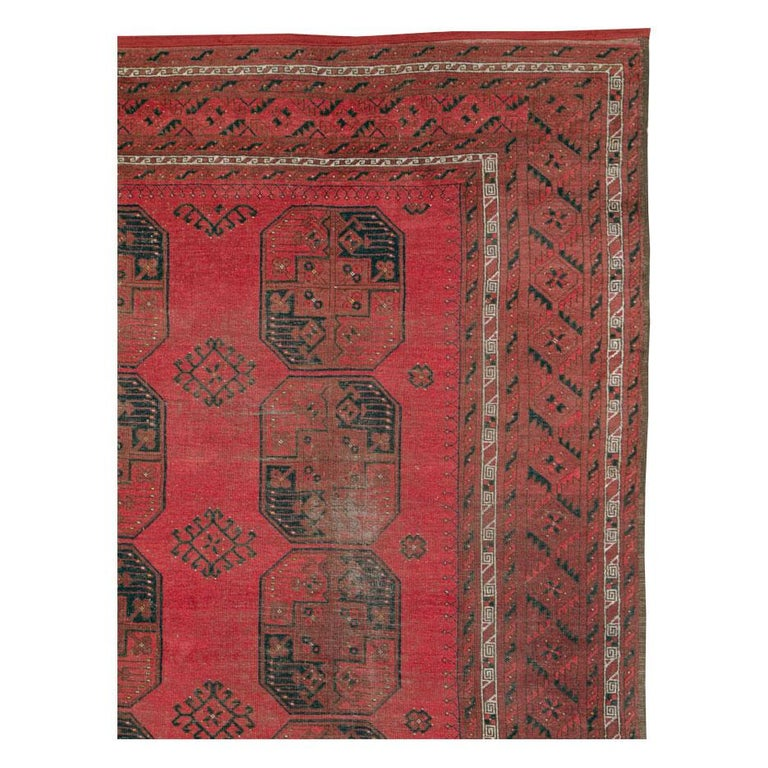 Central Asian Distressed Mid-20th Century Tribal Tekke Room Size Carpet in Red and Black For Sale