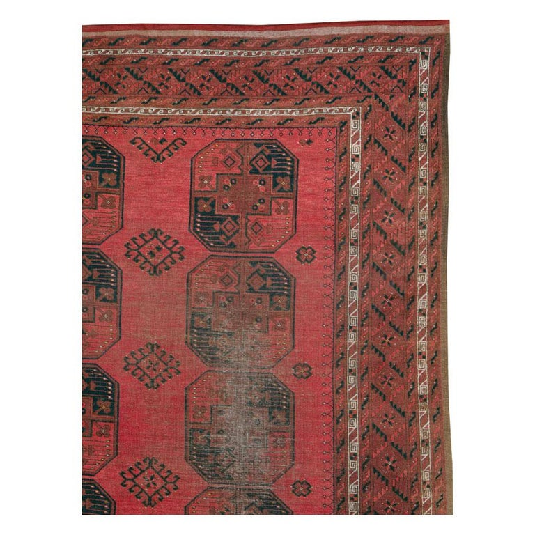 Hand-Knotted Distressed Mid-20th Century Tribal Tekke Room Size Carpet in Red and Black For Sale